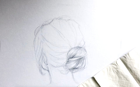Drawing realistic portrait hair step by step guide beginner artist easy girl woman hair practice hair line tips tutorial style short style bun japan design hairstyle