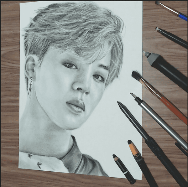 Assemble all the Jimin's fans and draw together loeil L'oeil art supplies blog graphite pencil drawing
