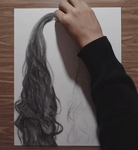How to Draw Realistic Hair with Techniques for Beginners Step by Step Tutorial graphite pencil drawing L'oeil loeil guide 12