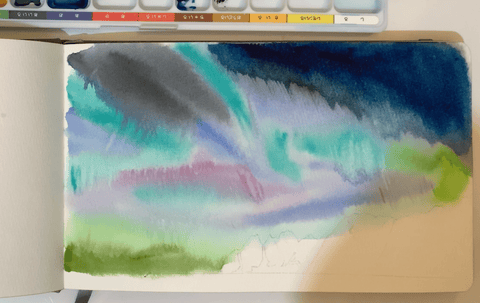 L'oeil_loeilart_youtube_tutorial_watercolor_northern_light_aurora_Lenvik_norway