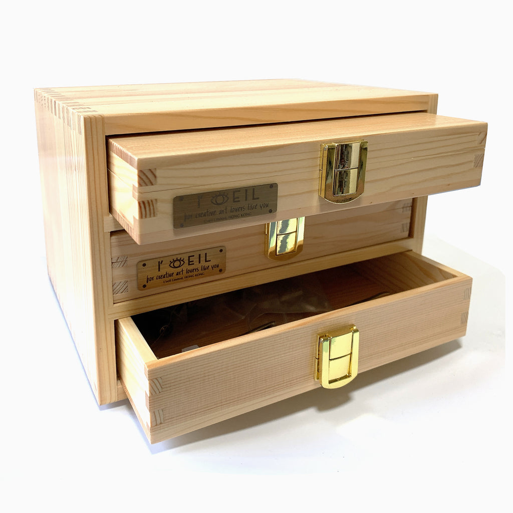 3-layer Wooden Type Box (S) - Pinewood for Storing Types And Hot Foil Stamping Machines' Tools