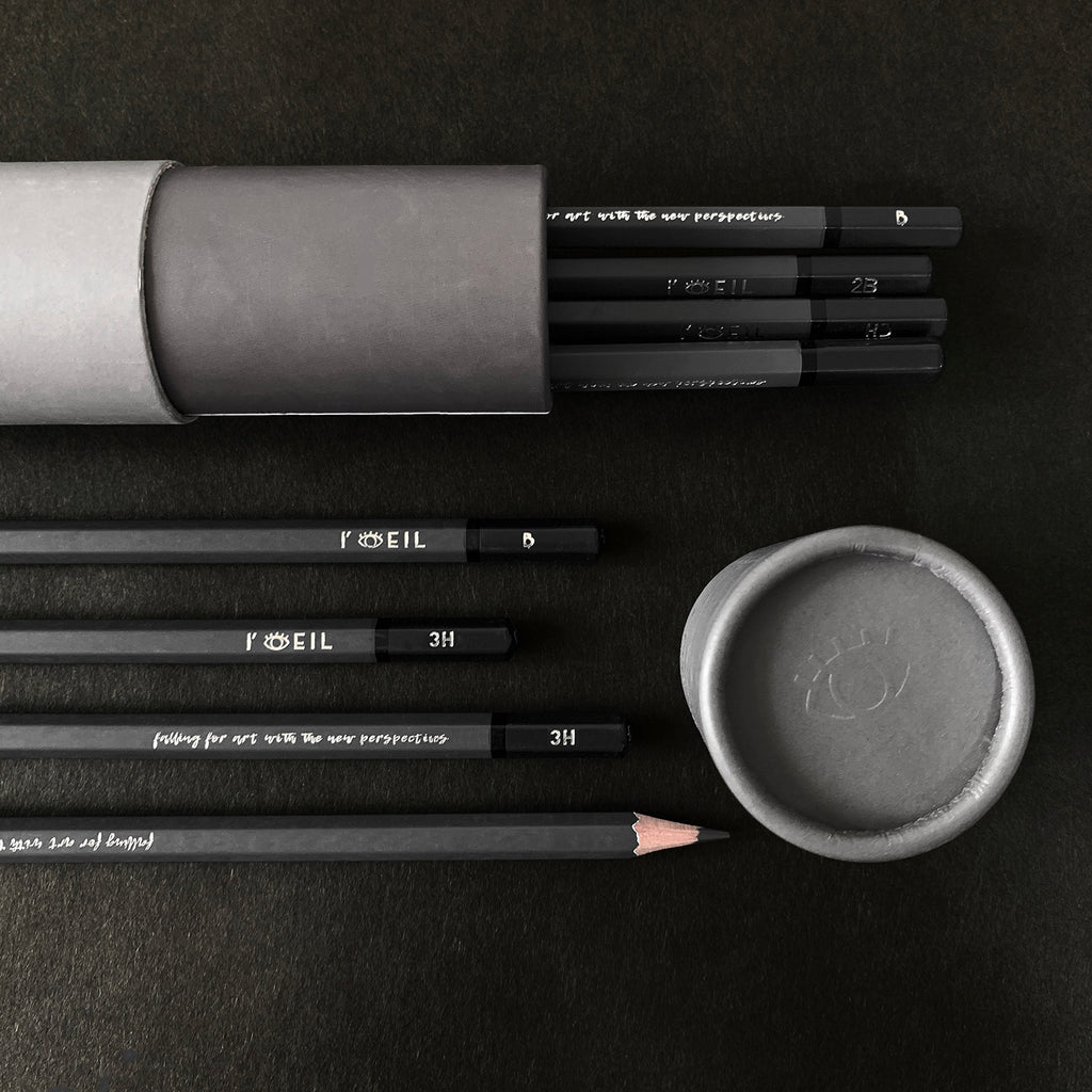 Listing photo shop store dark grey graphite sketching drawing pencil art supplies high quality the eye set