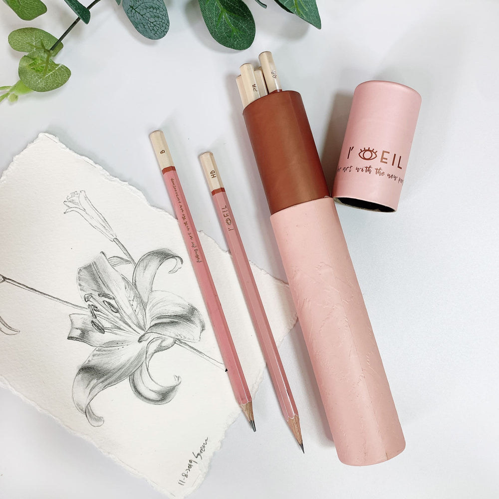 The Eye Graphite Sketching Pencil Set - Pink X Rose Gold