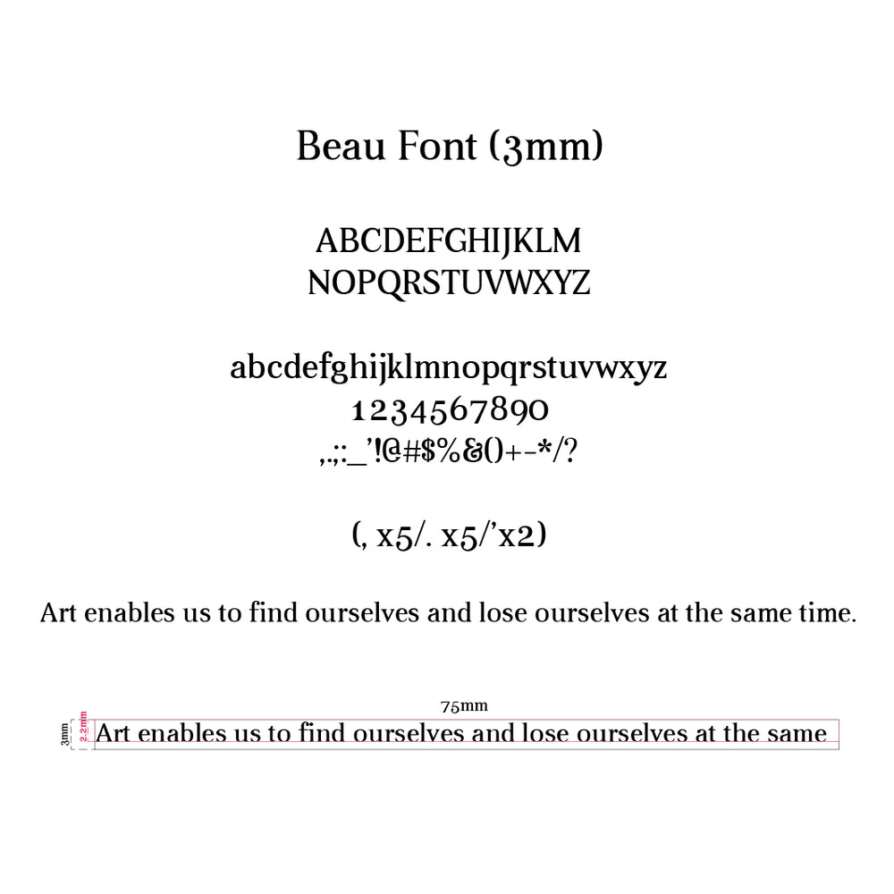 Beau Font Brass Types for Hot Foil Imprinting & Stamping Machine