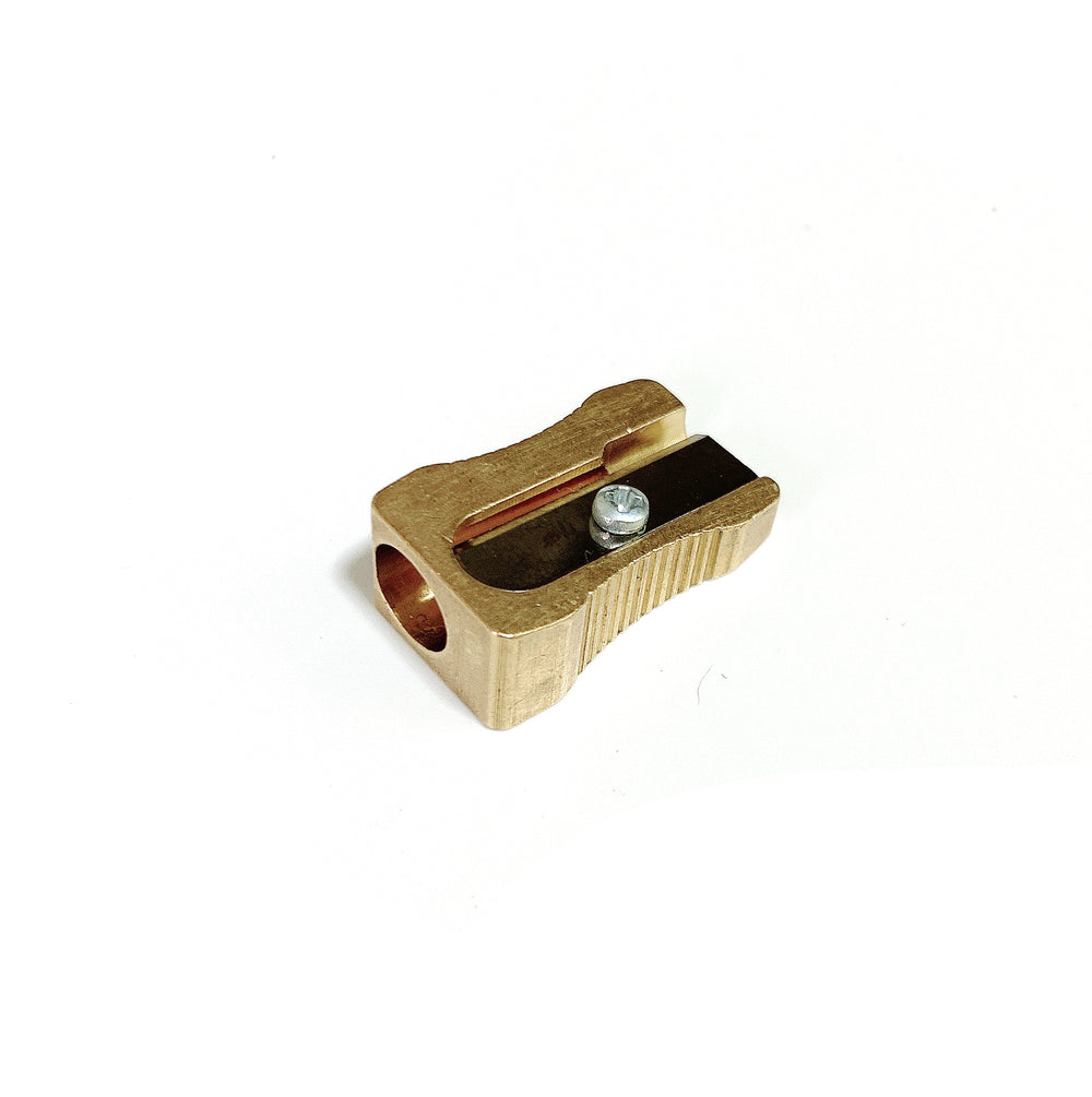 Wedged-shaped Brass Pencil Sharpener