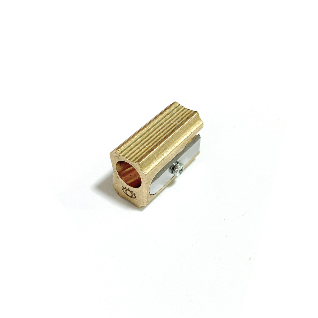 Block-shaped Brass Pencil Sharpener