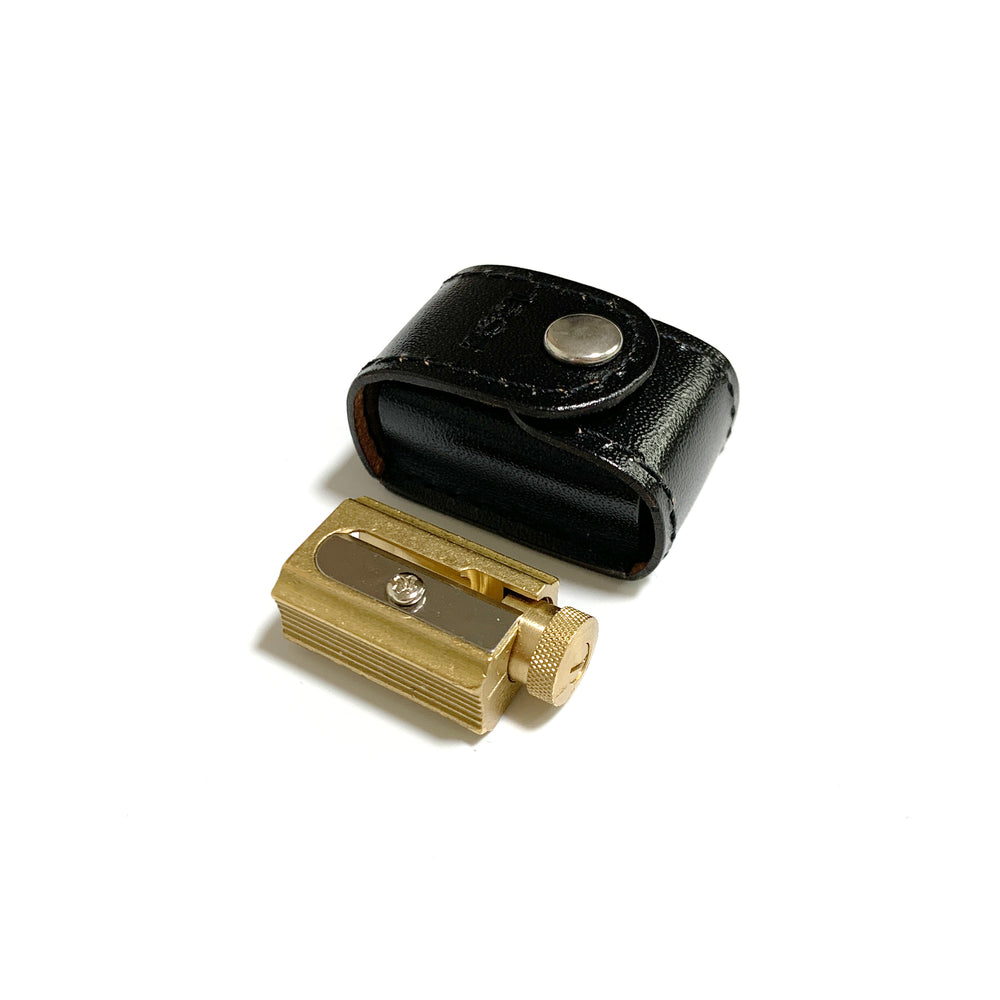 Adjustable 3-points Brass Pencil Sharpener with Leather Case