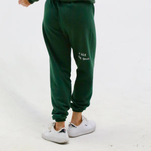 "green ""be you not them"" sweatpants"
