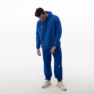 "blue ""be you not them"" sweatpants"