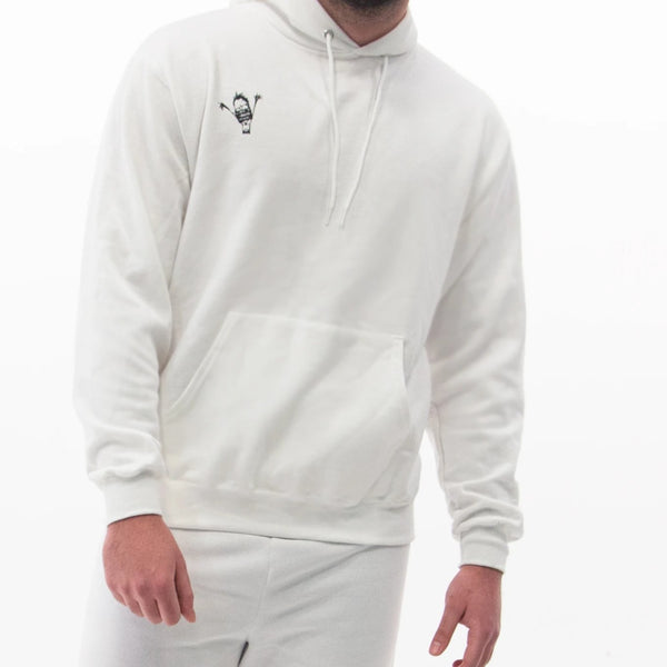 "white ""be you not them"" Champion hoodie"