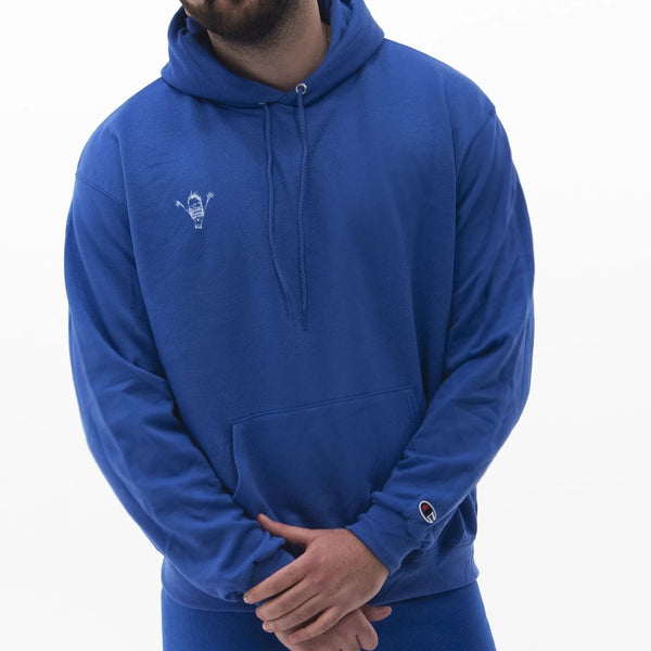 "blue ""be you not them"" Champion hoodie"
