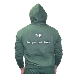 "green ""be you not them"" Champion hoodie"