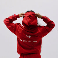 "red ""be you not them"" Champion hoodie"