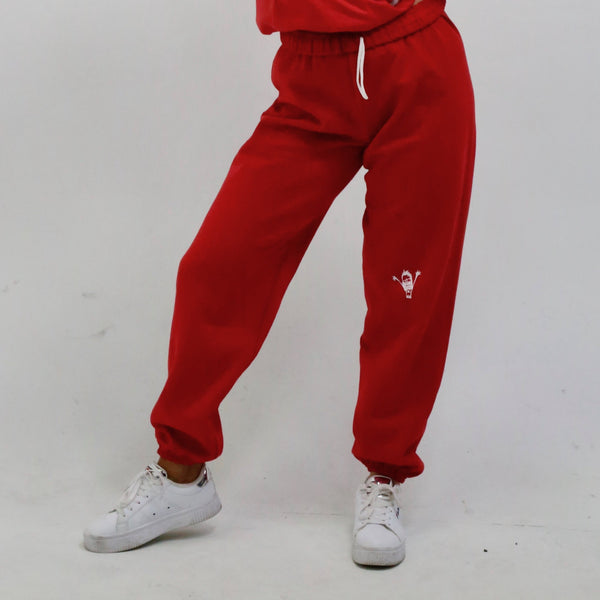 "red ""be you not them"" sweatpants"