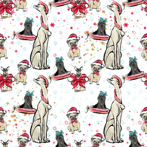 PRE ORDER Doggy Christmas in White Fabric