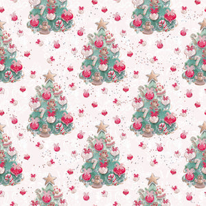 IN STOCK - Holly Jolly White Trees Fabric
