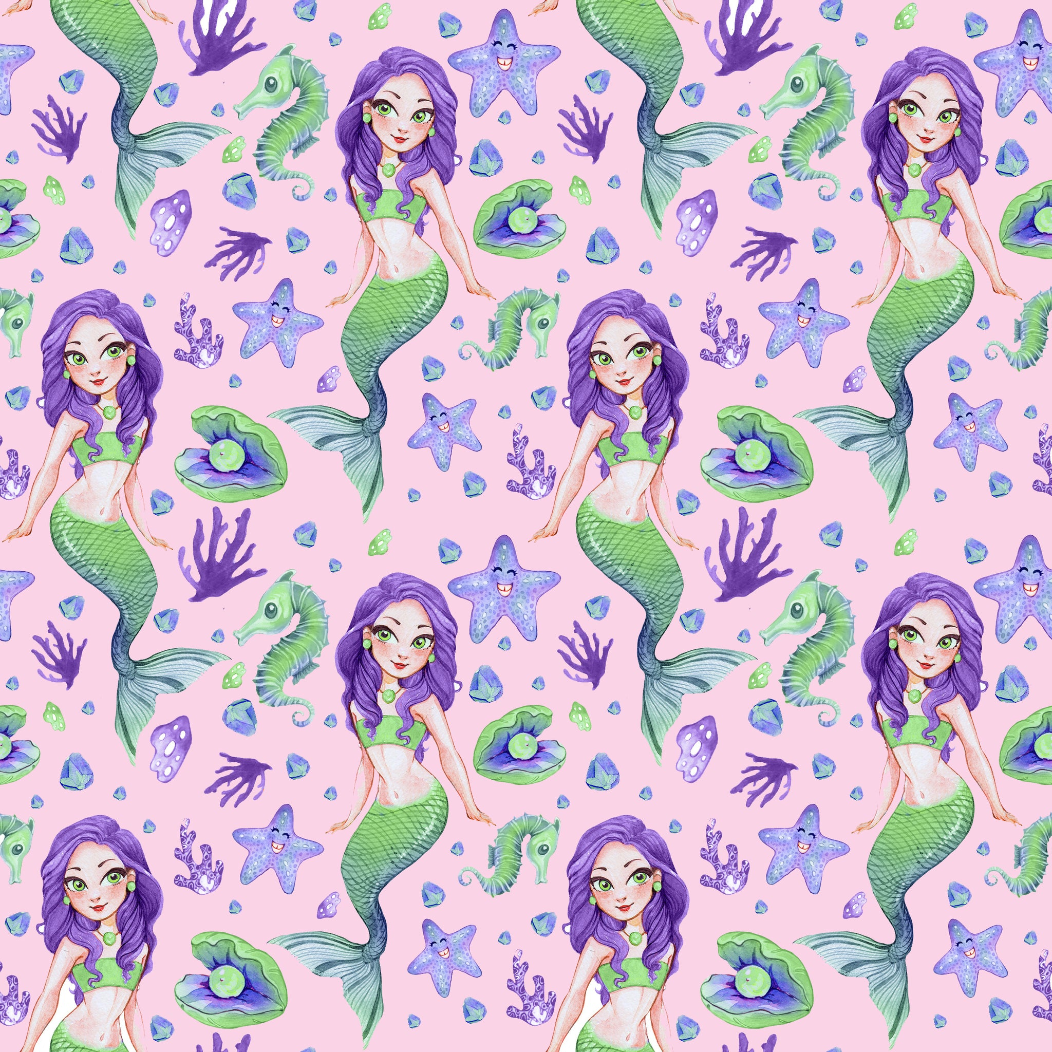 PRE ORDER Pink Mermaids - MM Fabric Print