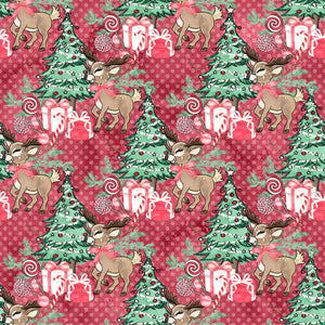 PRE ORDER Christmas Forest Reindeer Red Dot Fabric