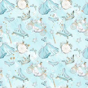 PRE ORDER Cinderella Blue Clocks Fabric