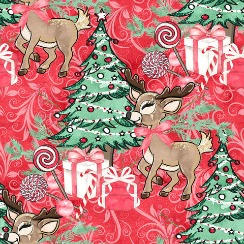 IN STOCK - Christmas Forest Reindeer Red Swirl - WOVEN COTTON