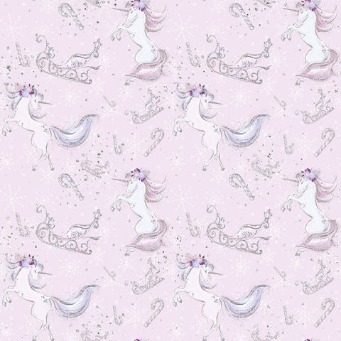 PRE ORDER Lavender Christmas Unicorns Fabric