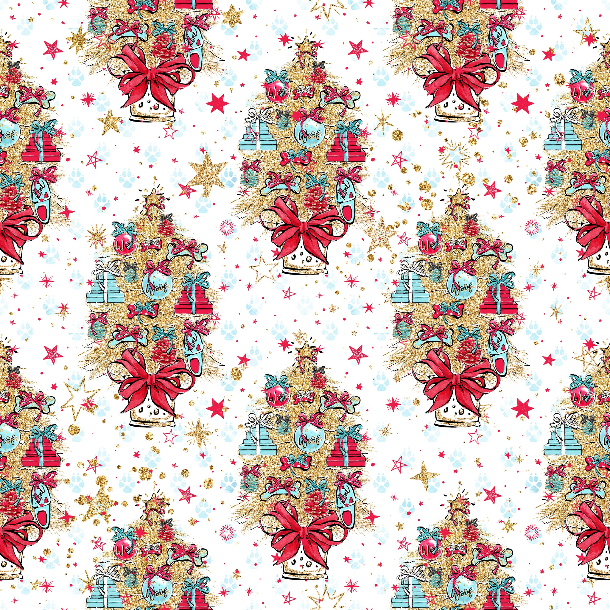 PRE ORDER Doggy Christmas Trees Fabric