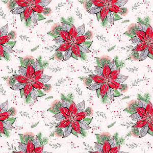 PRE ORDER Holly Jolly Flowers Red Fabric