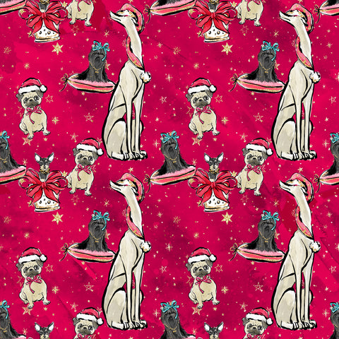 IN STOCK - Doggy Christmas in Red - WOVEN COTTON