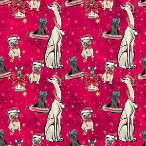 PRE ORDER Doggy Christmas in Red Fabric
