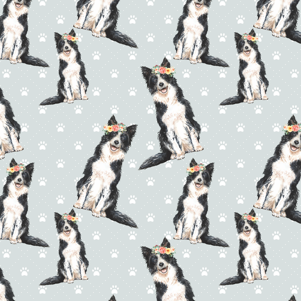 PRE ORDER - Border Collie Pups - Digital Fabric Print
