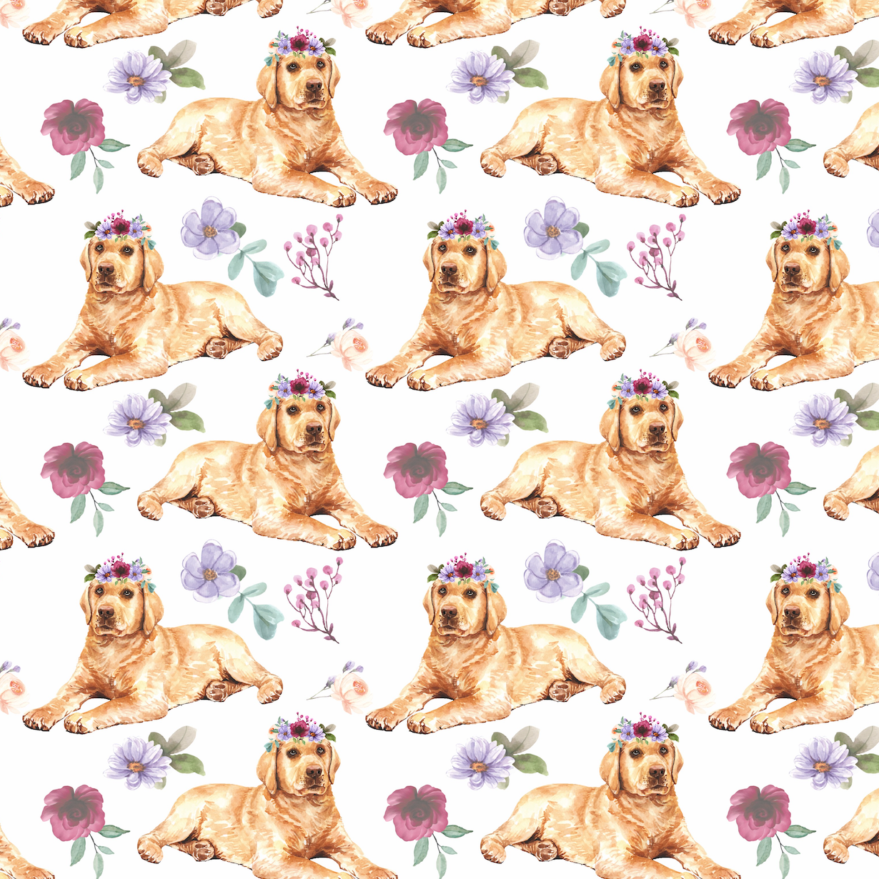 PRE ORDER - Golden Retriever Pups - Digital Fabric Print
