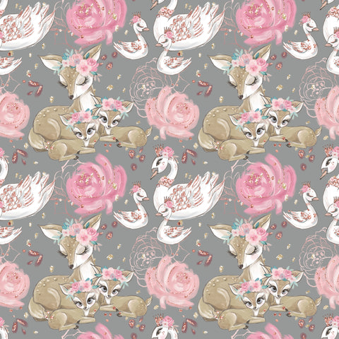 PRE ORDER Baby Animals Main Grey Fabric