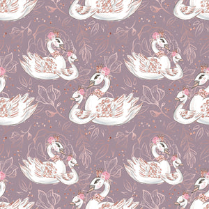 PRE ORDER Baby Animals Purple Swans Fabric