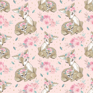 PRE ORDER Baby Animals Pink Bambi Fabric