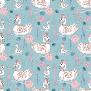 PRE ORDER Baby Animals Blue Swans Fabric
