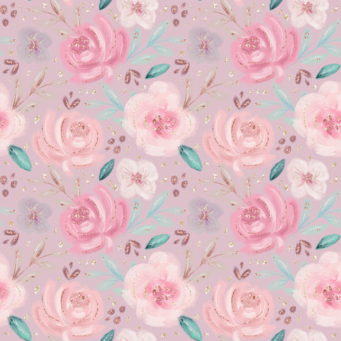 IN STOCK - Baby Animals Pink Floral - Minky