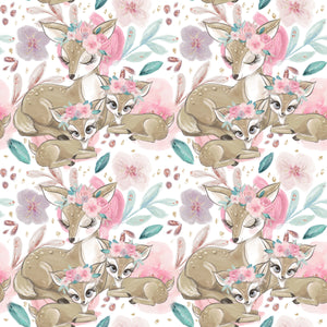 PRE ORDER - Baby Animals Main White - Digital Fabric Print