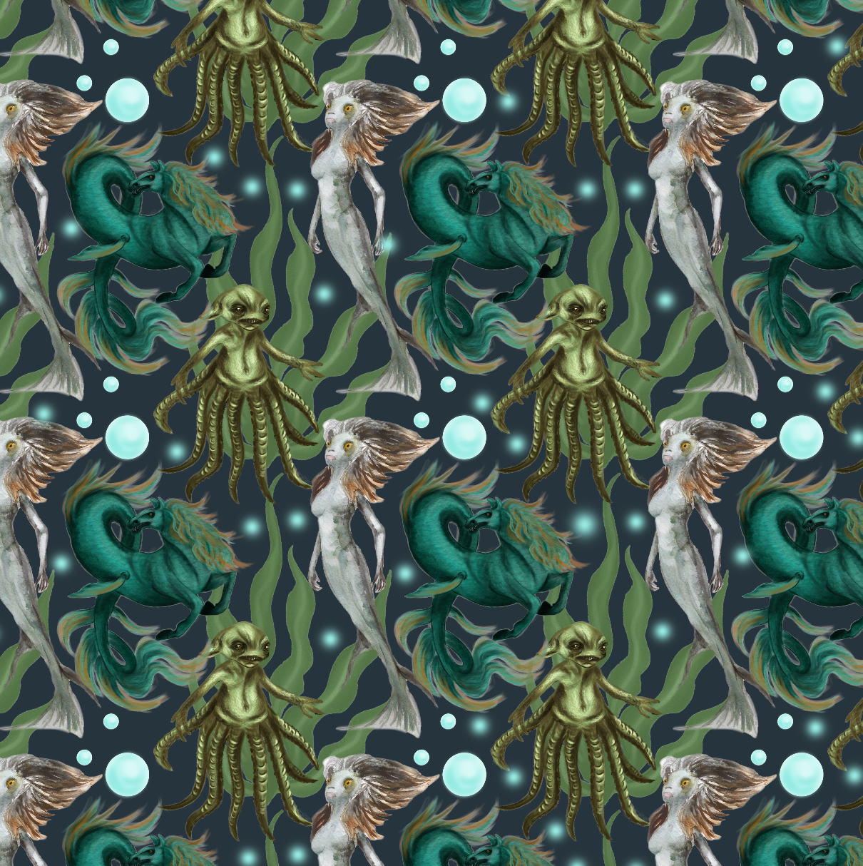 PRE ORDER - Fantastic Beasts in Green - Digital Fabric Print