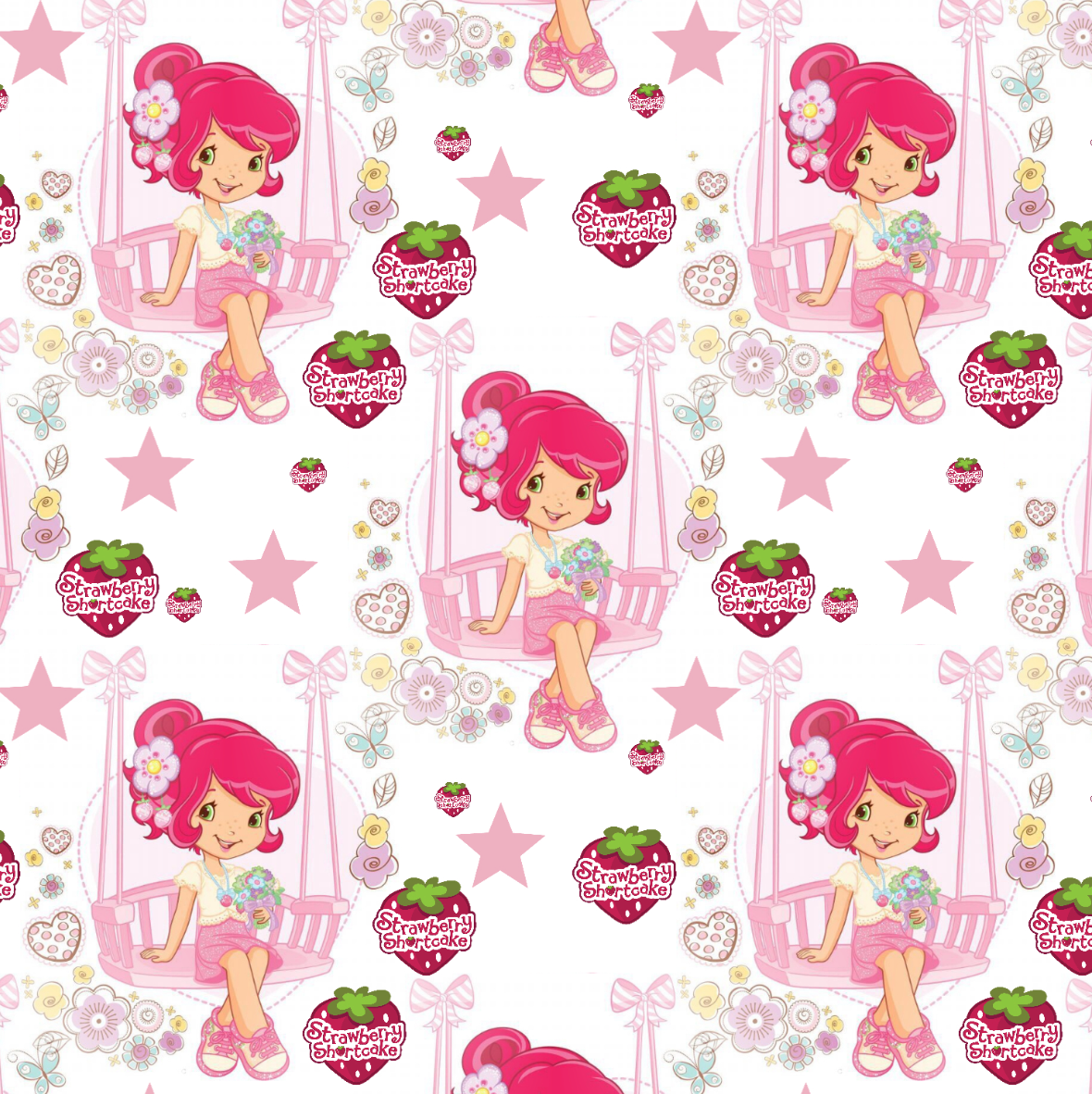 PRE ORDER - Strawberry Shortcake White - Digital Fabric Print