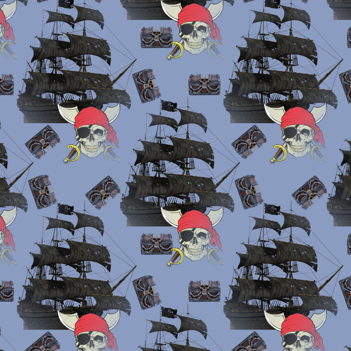 PRE ORDER - Black Pearl Ship Blue - Digital Fabric Print