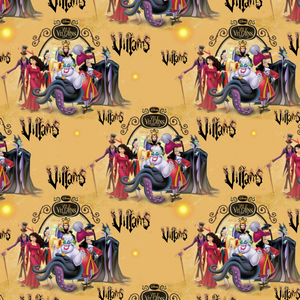 PRE ORDER - Disney Villains Mustard - Digital Fabric Print