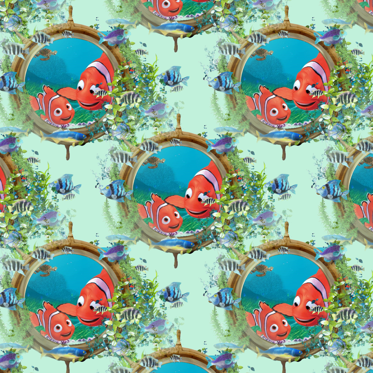 PRE ORDER - Finding Nemo Green - Digital Fabric Print