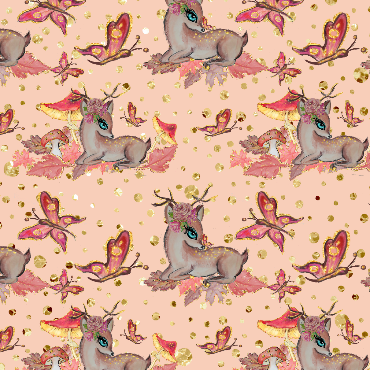 PRE ORDER - Autumn Forest Bambi Pink - Digital Fabric Print