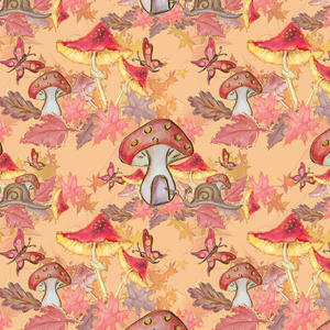 PRE ORDER - Autumn Forest Mushrooms - Digital Fabric Print