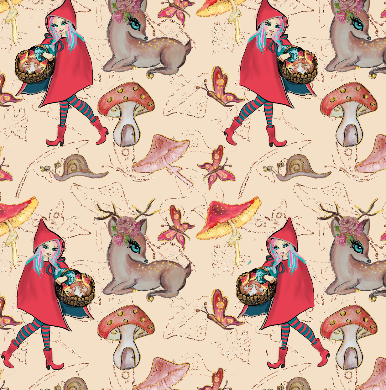 PRE ORDER - Red Riding Hood Cream - Digital Fabric Print