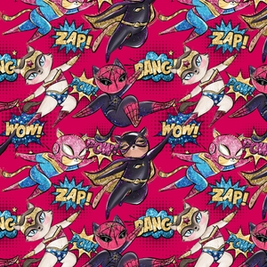 PRE ORDER - Super Cats Red - Digital Fabric Print