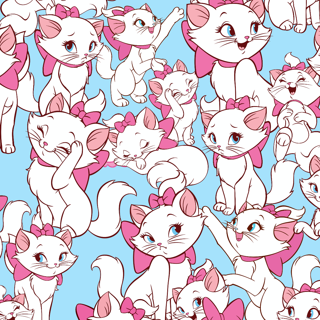 PRE ORDER - Aristocats Marie Blue - Digital Fabric Print