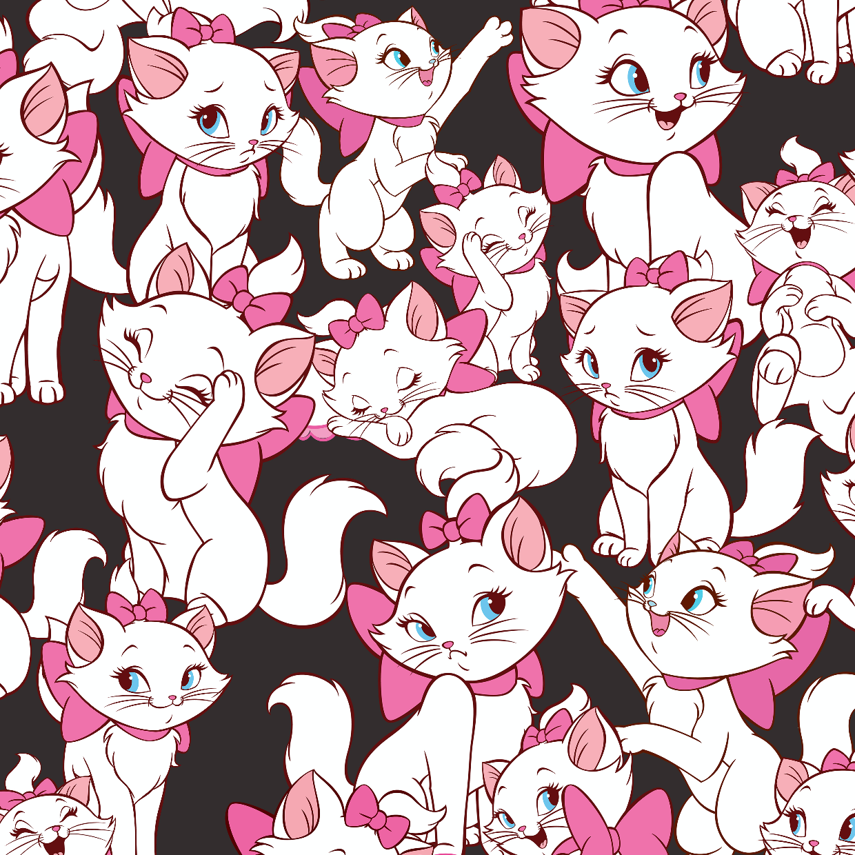 PRE ORDER - Aristocats Marie Black - Digital Fabric Print