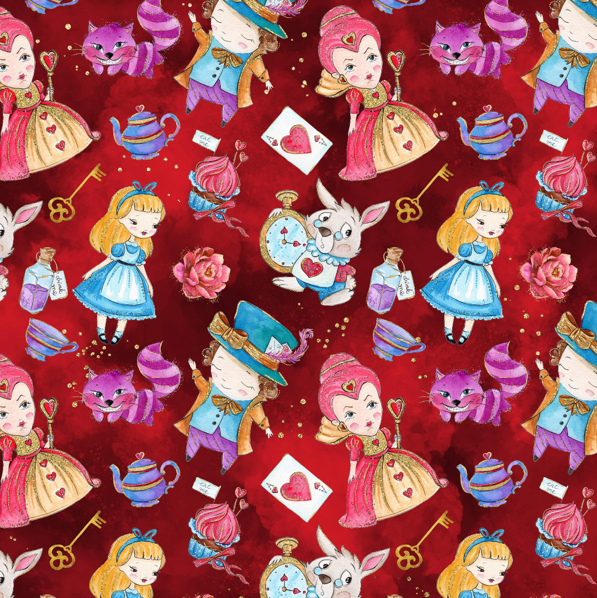 PRE ORDER - Down The Rabbit Hole Red - Digital Fabric Print