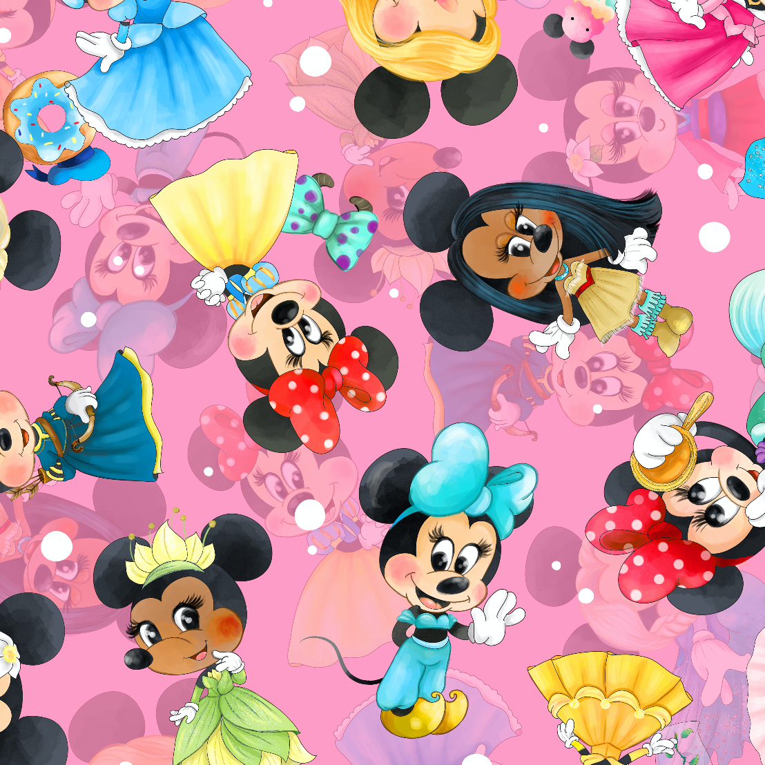 PRE ORDER - Princess Minnie Pink - Digital Fabric Print